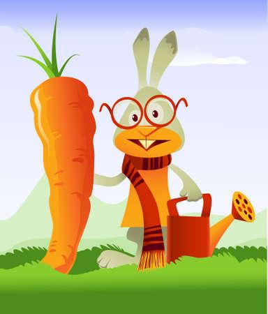 watering pot: Happy rabbit admiring the gigantic carrot he grew in his garden Illustration
