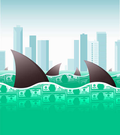 Illustration of big fish (or sharks) prowling the money ocean
