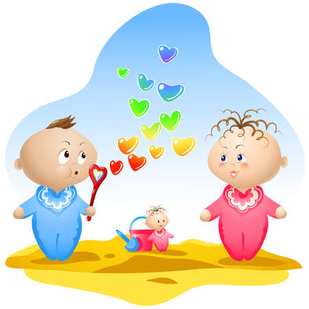 blows: Illustration of two lovely babies in the playground