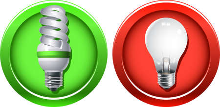 Outdated incandescent light bulb banned and a new fluorescent bulb as a replacement Stock Vector - 8067457