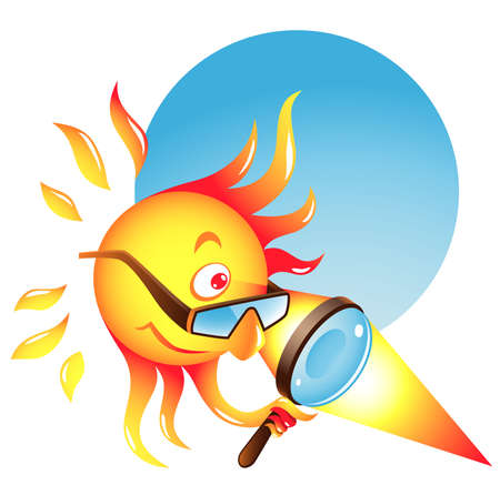 Summer sun using his burning glass to heat some surface or produce sunburn Illustration
