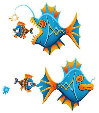 Bold little fish giving an instant fight back to a big angler fish creeping up from the back Vector