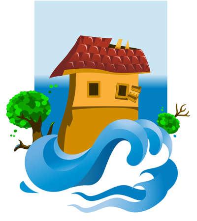 d�bord�: Illustration d'une maison inond�e Illustration