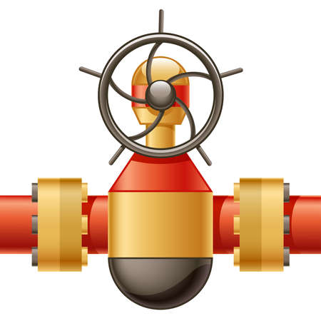 Illustration of gas or oil pipeline gate valve Illustration