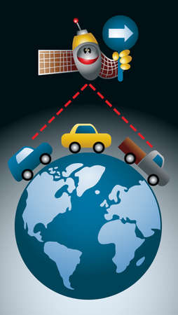 Cartoon-style illustration of a GPS satellite showing the direction to a string of cars moving on planet earth Illustration