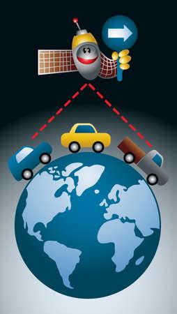 earth moving: Ilustraci�n de estilo de la caricatura de un sat�lite GPS que muestra la direcci�n de una cadena de coches que se mueve en el planeta tierra  Vectores