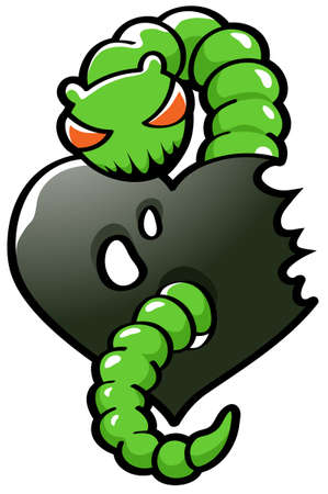 envy: Semi-abstract illustration of a green worm representing envy eating ones heart out