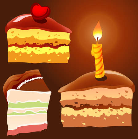 Illustration of three cake pieces Vector