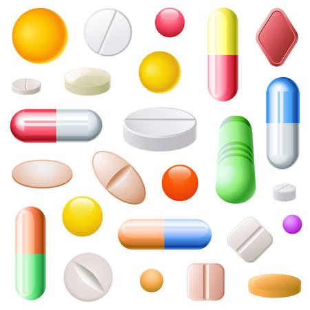 Ensemble de vingt-cinq pilules de différentes tailles, formes et de couleurs  Banque d'images - 8067461