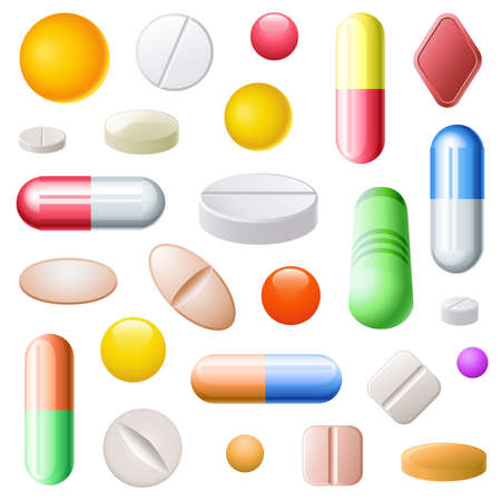 Set of twenty five pills of different sizes, forms, and colors Stock Vector - 8067461