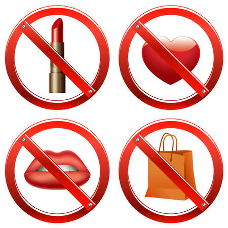 banning: Set of signs banning a number of things like use of cosmetics, freedom of speech, manifestation of feelings, and shopping