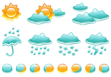 Collection of glossy weather symbols and phases of the moon Vector