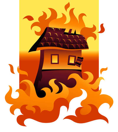 damaged roof: Illustration of a house on fire