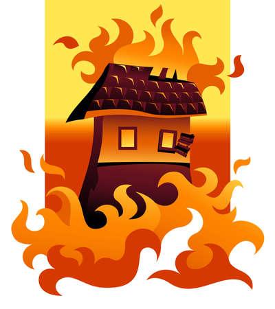 incendio casa: Ilustraci�n de una casa en llamas