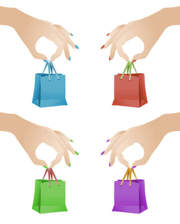 illustration of female hands holding colorful gift bags