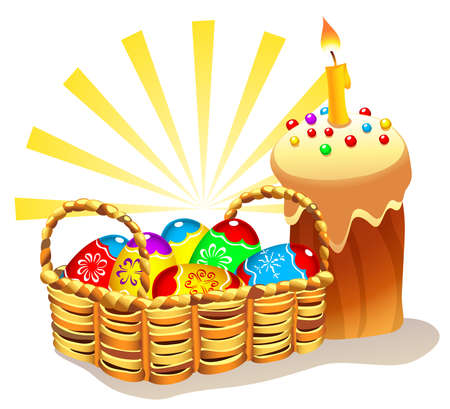 bread basket: Illustration of traditional Easter cake and wicker basket with colorful Easter eggs Illustration