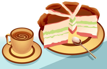 cake slice: illustration of a cake sliced and arranged on a plate, and a cup of chocolate drink Illustration
