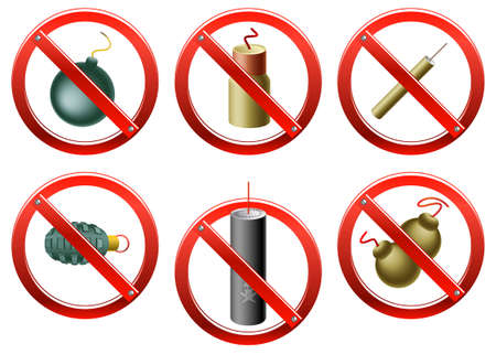 petard: set of prohibition signs indicating that the use of firecrackers and other small explosive devices is restricted (in certain countries or areas) Illustration