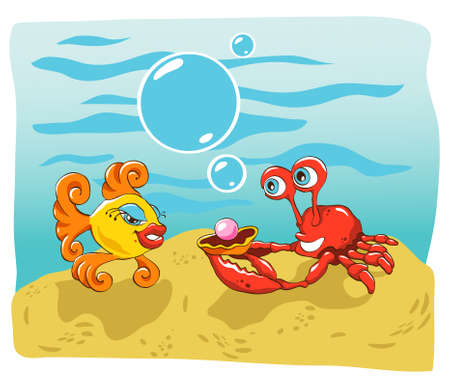 illustration of a happy crab giving a pearl gift to a fish on her birthday, or maybe proposing marriage Illustration