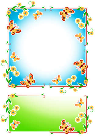 Two serene floral frames with butterflies