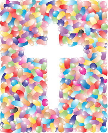A pile of jelly beans in multiple colors making the shape of a cross Vector