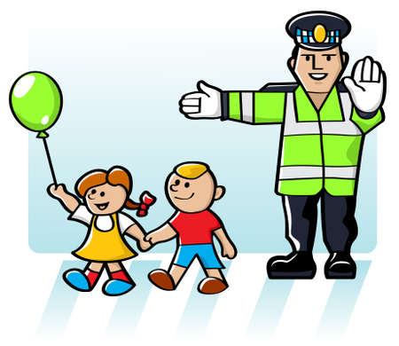 traffic officer: illustration of a crossing guard stopping the flow of traffic so children could cross the road in safety