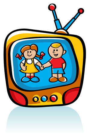 movie screen: cartoon-style illustration of two kids on TV screen