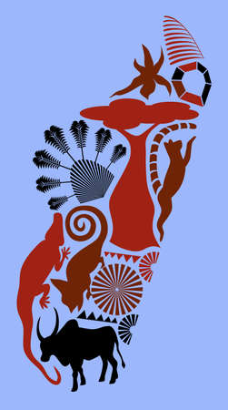 Abstract map of Madagascar made up of silhouettes of its major items of interest
