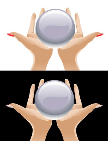 Magic crystal. Hands holding a crystal ball Vector