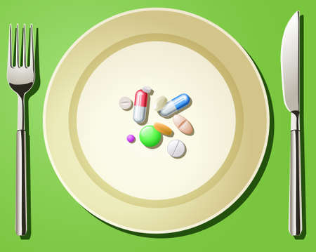 Abstract illustration of nutritional care and healthy eating represented by a few pills being served on the plate Illustration