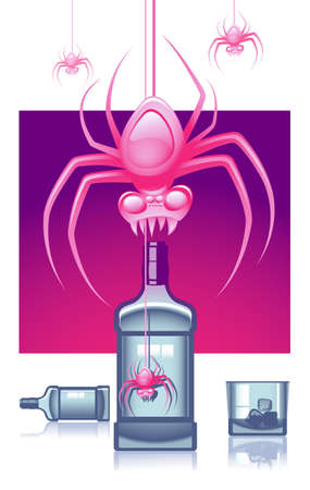 mania: Abstract vector illustration of empty whisky or vodka bottles and pink spiders representing alcoholic mania