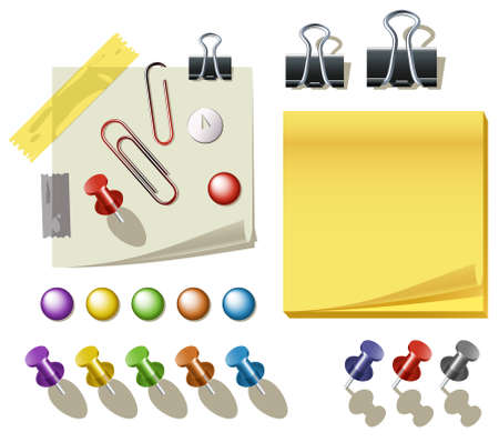 thumbtack: set of paper pins, clips, tapes, and a note pad