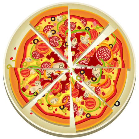 pepperoni: illustration of eight slices of pizza on the plate