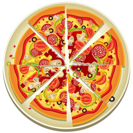 mozzarelle e formaggi: illustrazione di otto fette di pizza sulla piastra Vettoriali