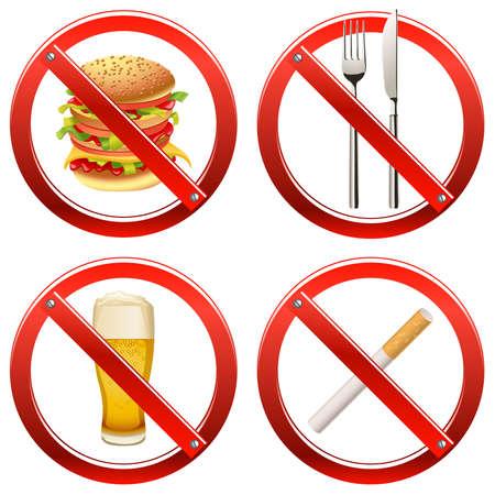 Ensemble de panneaux interdisant de fumer et de la nourriture ou des boissons dans une certaine zone Banque d'images - 8164156