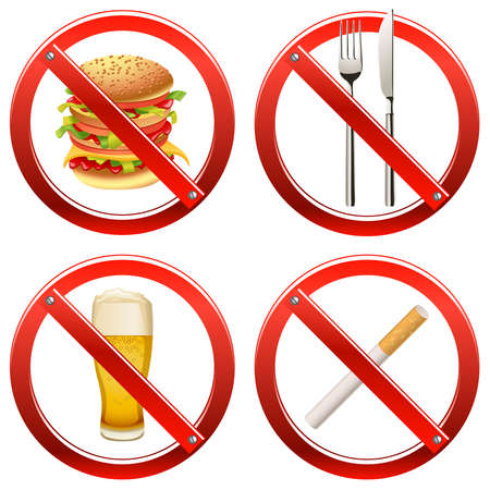 banned: Set of signs banning smoking and food or drink in a certain area