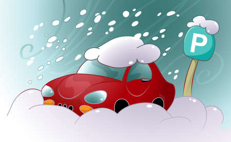 Vector illustration of a car stuck in the snow and ice in the parking lot