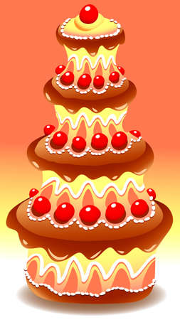 illustration of tiered chocolate cake decorated with small red fruits Vector