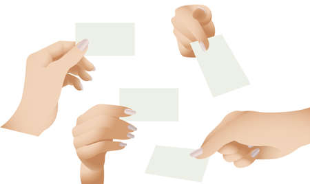hand holding paper:  collection of female hands holding blank cards