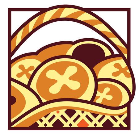 bollos: Ilustraci�n semiabstractos de cesta de bollos de Cruz de caliente de Pascua