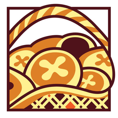 Semi-abstract illustration of basket of Easter hot cross buns