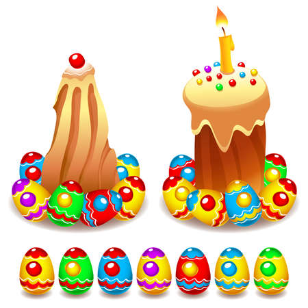 Set of Easter cakes and colorful painted Easter eggs Illustration