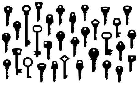 set of keys:   collection of key silhouettes