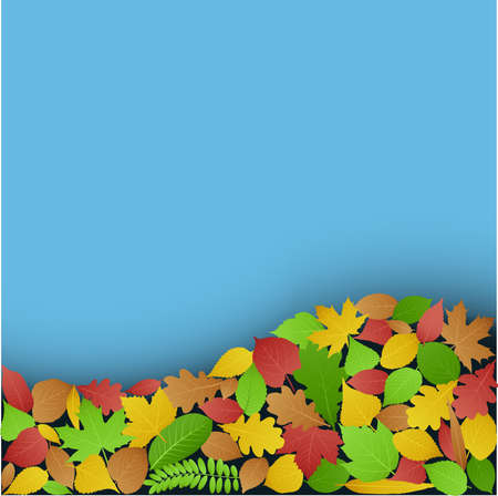 Blue background with fallen leaves Illustration