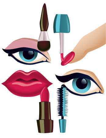 collection of four basic make-up items Vector