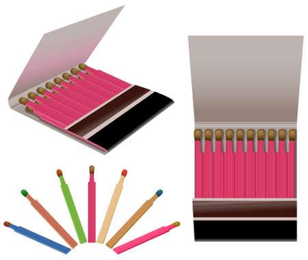 caja de cerillas: Ilustraci�n de dos libritos abiertos y un conjunto de cerillas coloridos