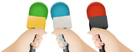 rueda de prensa: Mano del reportero sosteniendo un micr�fono con un indicador de micr�fono en blanco. Tres versiones de color