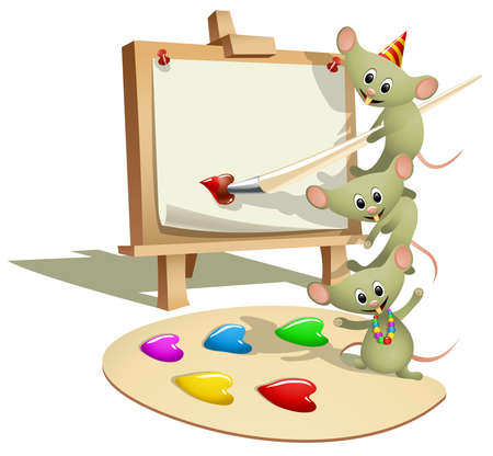 illustration of a wooden easel with blank canvas and funny stacking mice, top mouse holding a paintbrush. The palette paint wells are heart-shaped in case you might want to use the illustration as a valentines card Illustration