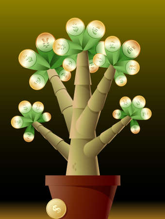 illustration of money tree with coin leaves of different currency Vector