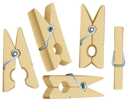 clothespin: Group of wooden pins isolated on white background